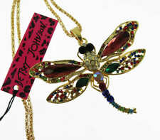 Betsey Johnson Fashion multicolor Crystal Dragonfly Pendant charm Sweater chain