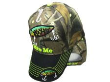 Bite Me Fishing Lure Fish Bass Camouflage Black Bill Embroidered Cap Hat 925A