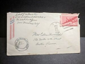 USS WALDRON DD-699 Naval Cover 1944 Censored WWII Sailor's Mail HAWAII