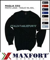 MAXFORT 3312 MAGLIA MAGLIONE MISTO LANA GIROCOLLO UOMO TAGLIE FORTI XL 10XL POLO