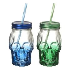Set of 2 Coloured Skull Drinking Jars Halloween Party Novelty Drinks Mason Glass