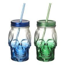 Set of 2 Coloured Skull Drinking Jars - Glass - Halloween - Novelty - Drinks