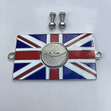 ASTON MARTIN Union Jack GB Brass Enamel Classic Car Badge - Bolt On