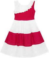 Girls Dress Pleated Collar Color Block Chiffon Sundress Age 7-16 Years