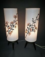 Vintage Pair Gilbert Plastic Mid Century Modern Beehive Lamp Light Flowers