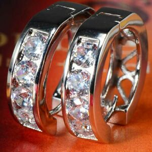 Fashion Womens Jewelry Hoop Earrings Huggie Earings Fashion Silver CZ Round 20mm