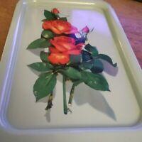 (11) Vintage TURQUOISE Tin Metal Red ROSE Flower RECTANGULAR Serving TRAYs