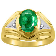 Mens Gold Ring Diamond & Emerald 14K Yellow Gold