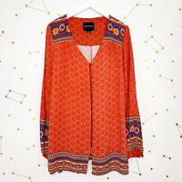 Minkpink Tunic Dress Size Medium M Red Border Print Boho Long Sleeve Button Down