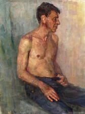 """Russischer Realist Expressionist Öl Leinwand """"Sitzender"""" 80x60 cm"""
