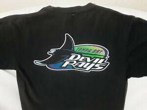 Vintage Tampa Bay Devil Rays Inaugural Season Logo Black T-Shirt 1998 Retro MLB
