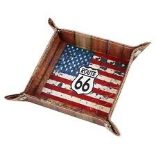 Route 66 USA National Flag PU Leather Valet Coin Key Trinket Tray for Serving