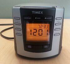 Timex Auto-Set Dual Alarm Digital Clock Radio AM/FM T301B dimmer black silver