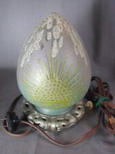 Rare Handel Lamp Scenic Art Glass Chip Ice Night Light Egg Shape Orig Asian Base