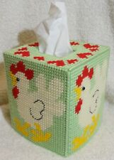 NEW Plastic Canvas Tissue Box Cover - COUNTRY CHICKEN Handmade