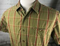 The North Face Plaid Shirt Short Sleeve Button Down Mens Large Army Green Cotton