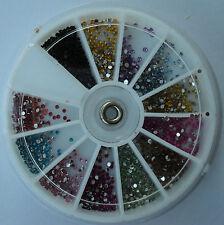 Ruota brillantini TONDI 12 colori decorazione Nail Art