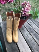 Vintage 1970's Hanna Tan Leather Boots Boho Hippie Festival Size 7 *Rare*