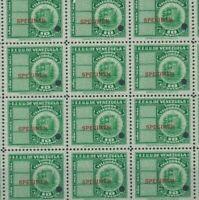 VENEZUELA Telegraph Stamps *SPECIMEN* 10c Block{20} 1940 ABNCo. UM MNH MF10