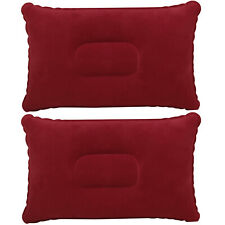 TRIXES Inflatable Pillow for Travel or Camping - Blow up Pillow – Burgundy Twin