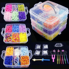 4800 PCS Colorful Rainbow Rubber Loom Bands Bracelet Making Kit Set Fun DIY