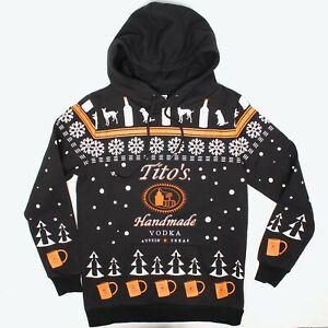 Titos Handmade Vodka Unisex Hoodie Hooded Sweatshirt S Black Orange Snowflake