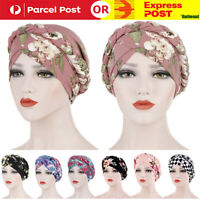 Women's Floral Chemo Cap Cancer Hat Muslim Hair Scarf Turban Hijab Head Wrap AU