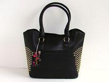 Arcadia USA Gorgeous New Black Faux Leather Gold Studded Large Tote Handbag