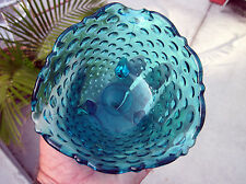 Vintage Viking 3-Toed Art Glass Blue Hobnail Rose Bowl Voltive Candlerholder
