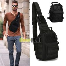 Black Molle Tactical Sling Chest Assault Pack Messenger Shoulder Bag Backpack US