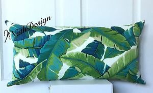 Outdoor / Indoor Green and Turquoise Tropical Banana Leaf lumbar Cushion  Cover