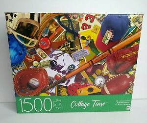 Milton Bradley Collage Time Vintage Sports Lover Jigsaw Puzzle 1500 Pieces New