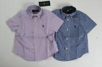 NWT Ralph Lauren Short Sleeve Gingham Cotton Poplin Button Down Shirt 5 6 7 NEW