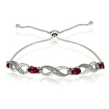 Infinity Symbol Created Ruby Adjustable Bolo Bracelet in Sterling Silver