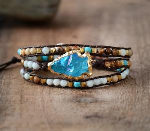 Druzy Stone Wrap Bracelet Geode Slice Turquoise Aura Quartz beaded Jasper