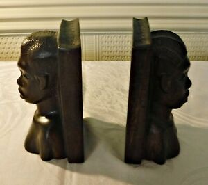 *VINTAGE AFRICAN TRIBAL BOOK ENDS CARVED WOOD MALE FEMALE PATINA 6 1/4 INCH HIGH