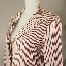 Cabi Womens Blazer Size 10 Jacket 2 Button Long Sleeve Red White Striped Career