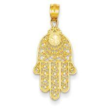 14k Yellow Gold Hand of God Chaemseh Hamsa Pendant. (0.9INx0.5IN)