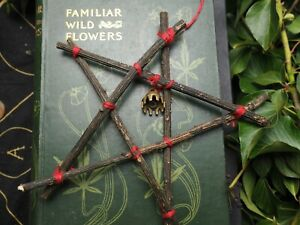 Holly Wood Pentagram Decoration - Pagan, Witchcraft, Pentacle, Ogham Tree, Bell