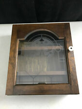 "vintage Wall Wood Display Glass Front Door Cabinet Shelf 11.75"" x 13.5"" x 4"""