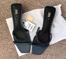 Zara New With Tags Petrol  Blue  Leather Sandals/mules 8/ 41