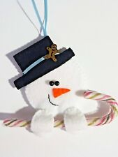 Cute Handmade Felt Snowman Candy Cane Holder Christmas Tree Decoration