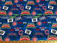 NEW MLB CHICAGO CUBS COTTON Fabric 1/4 yard=9inX44in WRIGLEY CONFINES DIY MASK !