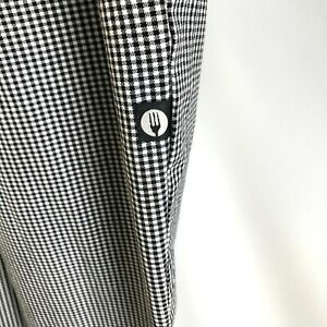 Chef Works Men's Pants, Classic Fit, Size M, 34-36 in Waist, Black White Check