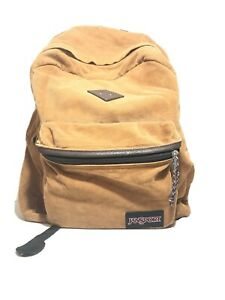 Vtg Jansport Tan and Brown Leather Zip Backpack