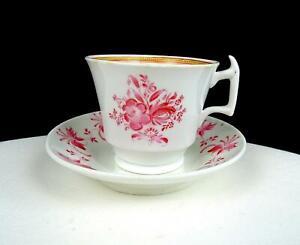 "Anglais Porcelaine London Forme Rose Floral 2 1/2 "" Demitasse Tasse & Soucoupe"