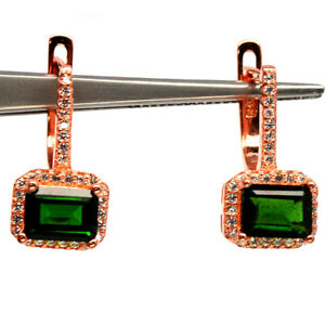 NATURAL 5 X 7 mm. GREEN CHROME DIOPSIDE & WHITE CZ 925 STERLING SILVER EARRINGS