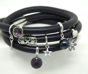 ENDLESS-DARK PURPLE Leather 3x Double Wrap Silver Clasp Sterling 8 Charm Bracele