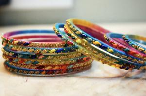12 Multi Coloured Indian Ethnic Glass Bangles Set