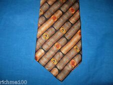 The Good Life Russ Berry Cigar Motif Smoking Dog 100% Silk Men's Necktie Tie USA